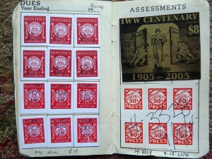 A Wobbly red card with dues stamps.